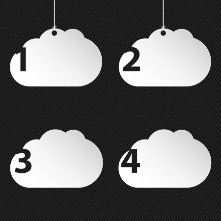 think bubble: Numbered cloud network icons on black striped background with place for text