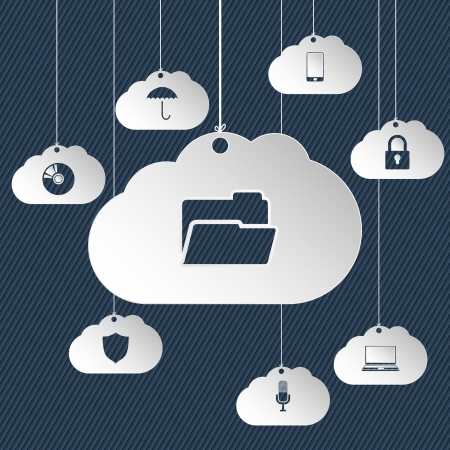 web services: Cloud network icons hanging with various elements Illustration