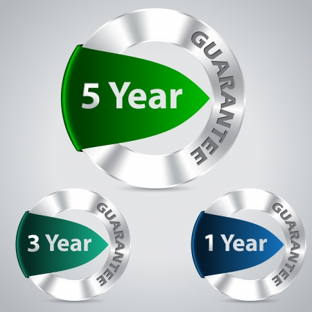 Five three and one year metallic warranty badges