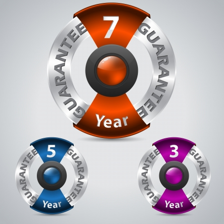 Seven five three year metallic warranty badges with color ribbons Vector