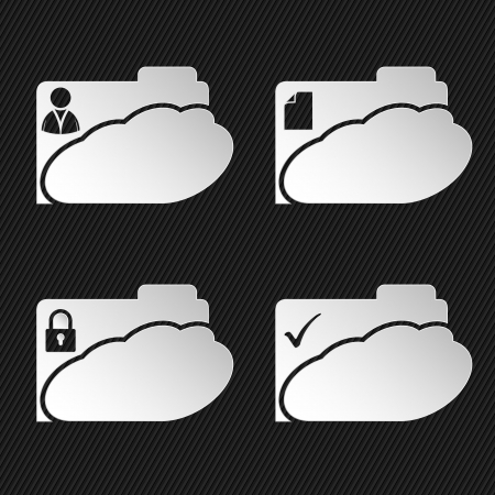 Cloud network folder icons on black striped background with place for text  Vector