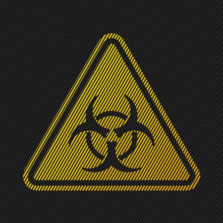 hazard stripes: Bio hazard sign on striped black