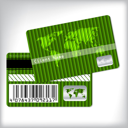 Green loyalty card design with scribbled map Stock Vector - 25511368