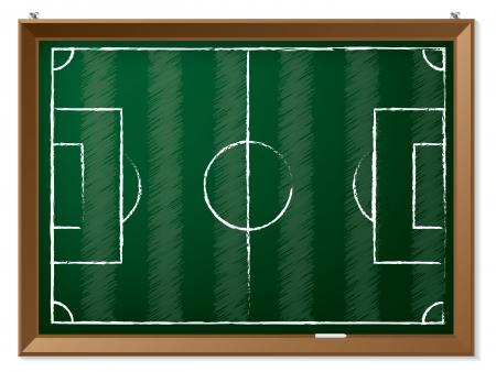 uefa: Soccer field drawn on hanging green chalkboard  Illustration