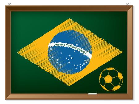 brasil: Brasil flag and soccerbal drawn on chalkboard Illustration