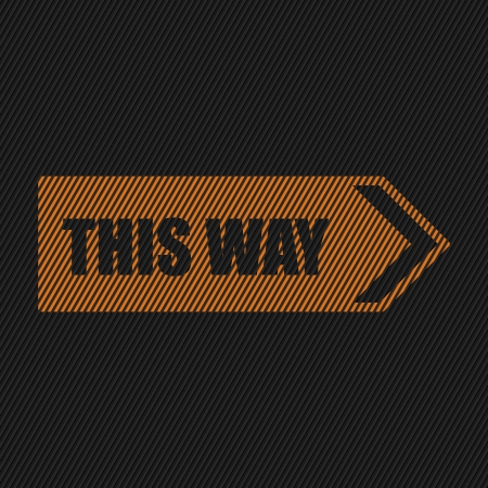 following: Orange this way sign on striped black background