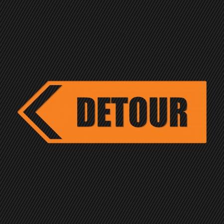 Orange detour sign on striped black  Illustration