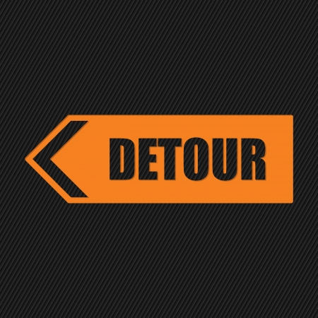 divert: Orange detour sign on striped black  Illustration