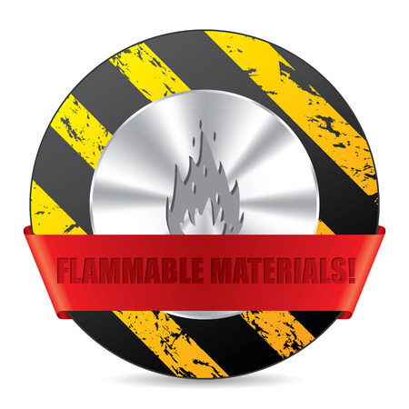 flammable materials: Flammabile material warning sign with symbol