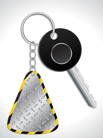 Key with abstract industrial metallic keyholder Vector