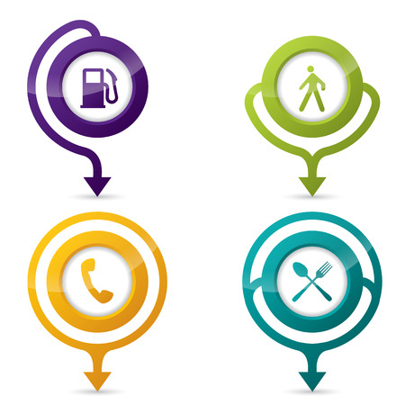 Gps pointers with various icon set on white Vector