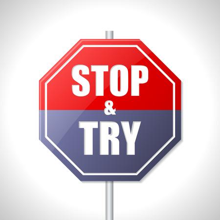 essayer: Arr�tez-vous et essayez bicolore panneau de signalisation sur blanc