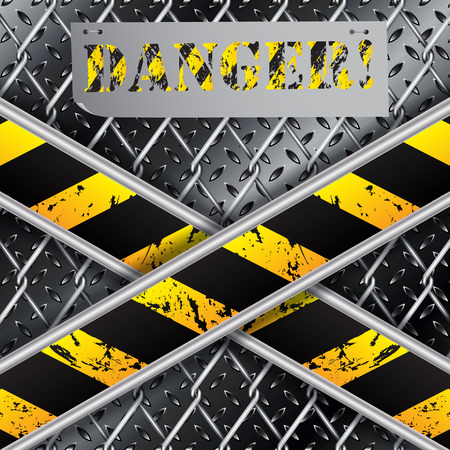 Metallic plate background with X shaped grunge stripes and wired fence Stock Vector - 26034373