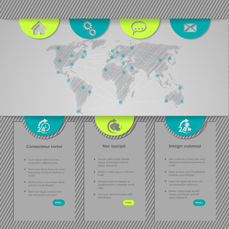 simplistic: Website template design with world map and simplistic design