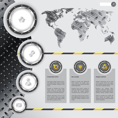secure site: Website template design with industrial and metallic elements