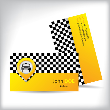 Business card design with car icon for taxi companies Vector