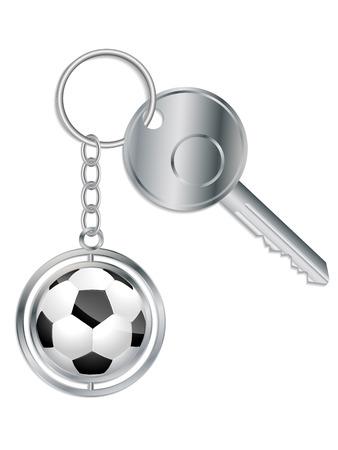 key in chain: Metallic key with soccer ball keyholder on white Illustration