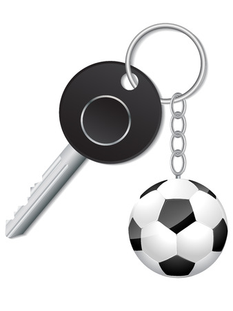 keyholder: Black key with soccer ball keyholder on white Illustration