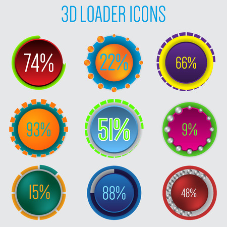 3d loader icon set of 9 with percentage Vector