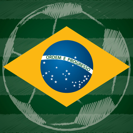 Abstract poster design with Brasil flag and scribbled soccer ball Vector