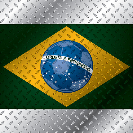 Abstract brasil flag poster on metallic plate Vector