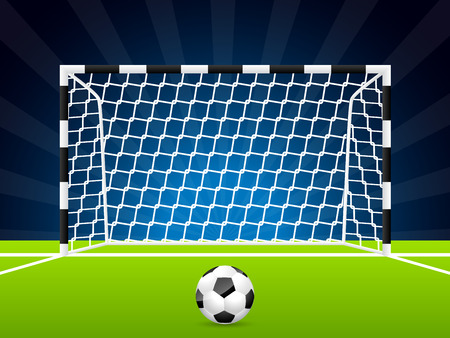 football net: Soccer ball and gate with dark night