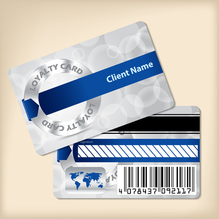 Loyalty card design with blue ribbon and bubbled gray background