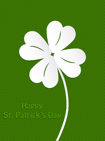 St Patricks day background design with white shamrock Vector
