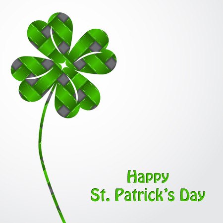 St Patricks shamrock on green texture and white background Vector