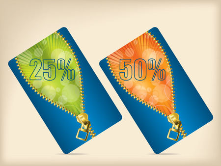 Gift card set with blue orange and green colors Vector