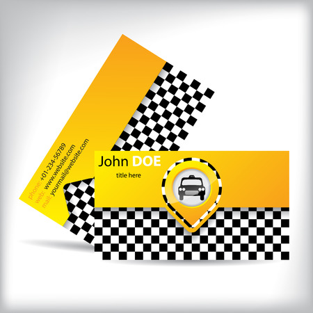 Business Card Design With Car Symbol For Taxi Companies And Drivers