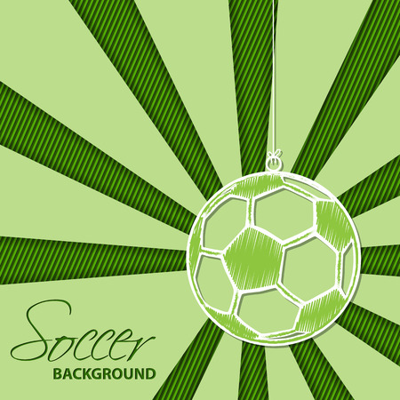 Abstract soccer background with hanging ball label Vector