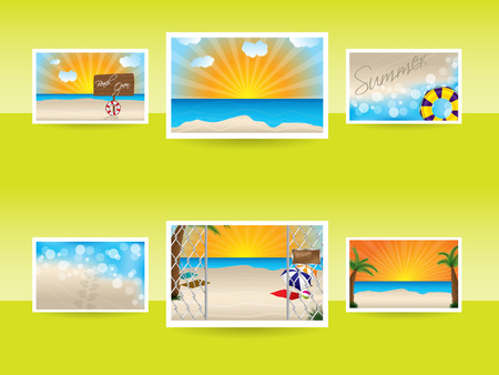 vetor: Summer memories with various photos on light background Illustration