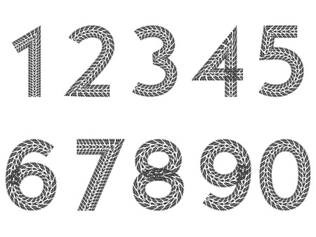 Tire tread number set from 1 to 9 including 0  Ilustracja