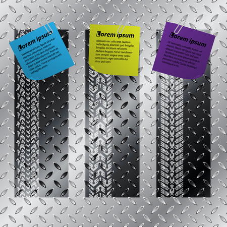 Industrial label set of three with tire treads and color notepapers  Vector