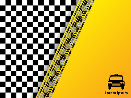 Checkered background design with tire tread ideal for taxi advertisements Vector