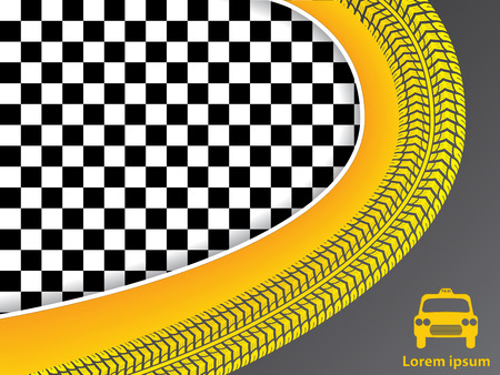 Taxi advertisement design with checkered background and wave shaped tire tread Vector