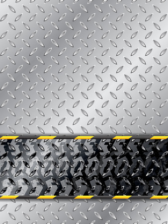 treads: Abstract industrial background with tire track and striped barrier