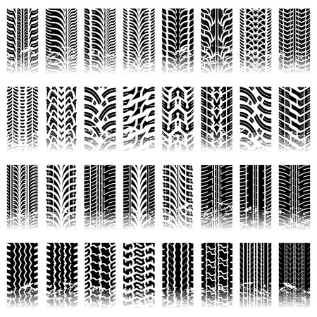 Thirty two piece set of tileable grunge tire track patterns