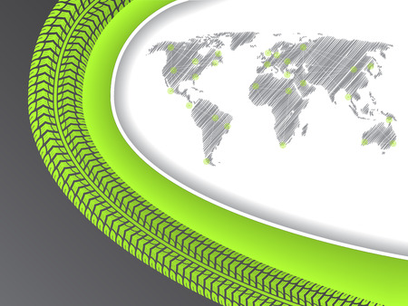 tire tread: Business brochure design with scribble world map in green with tire tread