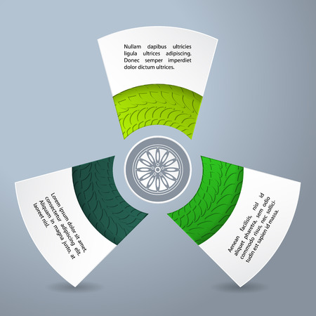 Infographic background design with rim and tire treads Illustration