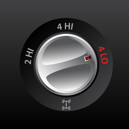4wd: 4x2 to 4x4 transmission knob with hi and low options Illustration