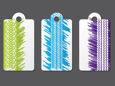 Tire label set with scribbled color background Vector