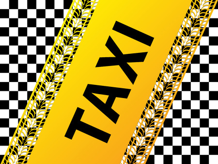 treads: Checkered taxi background design with tire treads and shadows Illustration