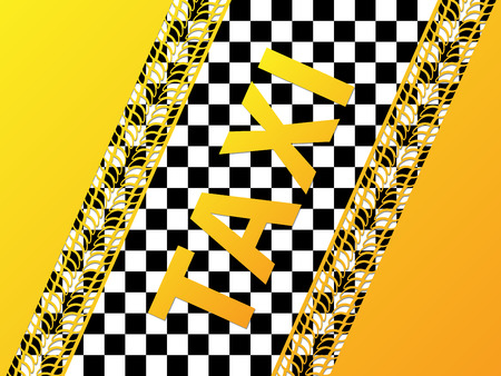 treads: Checkered taxi background design with tire treads
