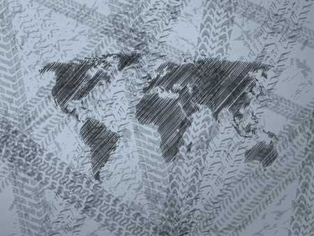 explored: Abstract background design with explored world map and various tire track