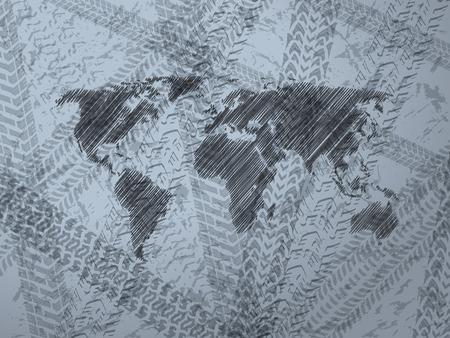 huellas de llantas: Diseño abstracto de fondo con mapa del mundo explorado y varios neumáticos de pista