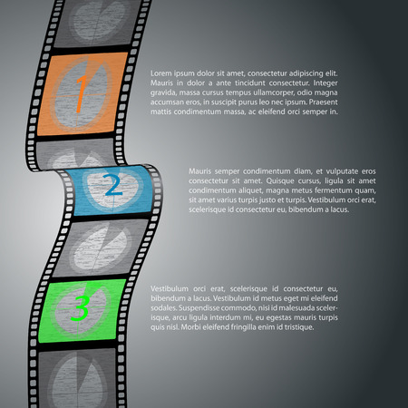 Countdown infographic design with film strip and text