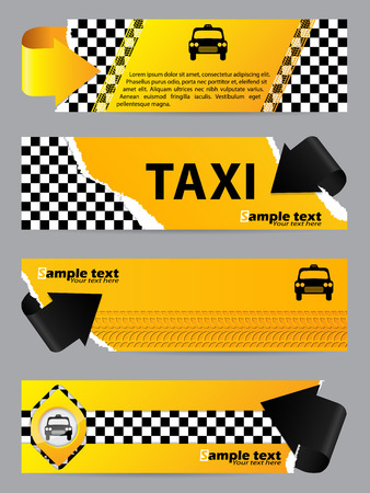 tire shop: Cool taxi company banner set of 4 with arrows Illustration
