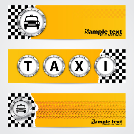 tire shop: Cool taxi company banner set of 4 with metallic elements